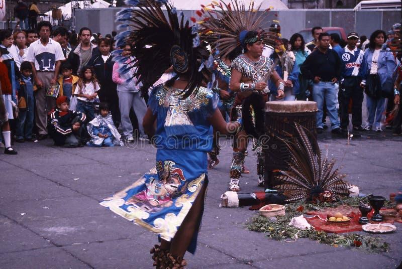 Mexico city; aztec dance stock photo