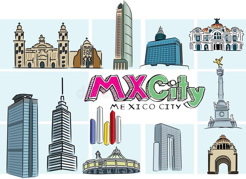 Mexico city buildings vector illustration