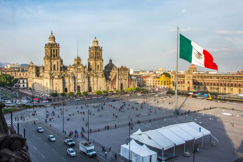 MEXICO CITY - FEB 5, 2017: Constitution Square Zocalo view from the dome of the Metropolitan Cathedral. On february 5, 2017 in Mexico City, Mexico. Day of stock image
