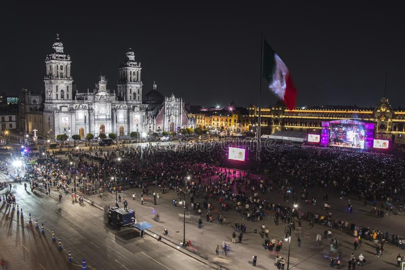 MEXICO CITY - FEBRUARY 7, 2018: Zocalo in Mexico City Independence celebration holiday at night time royalty free stock photos
