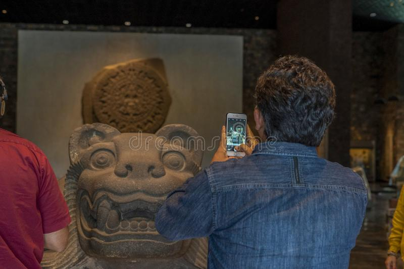 MEXICO CITY, MEXICO - JANUARY 31 2019 - mexico city anthropology museum. Is the largest and most visited museum in Mexico and contains significant stock photography