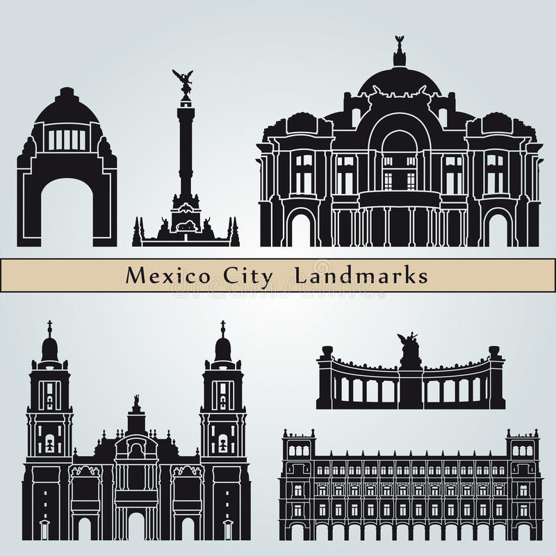 Mexico City landmarks and monuments royalty free illustration