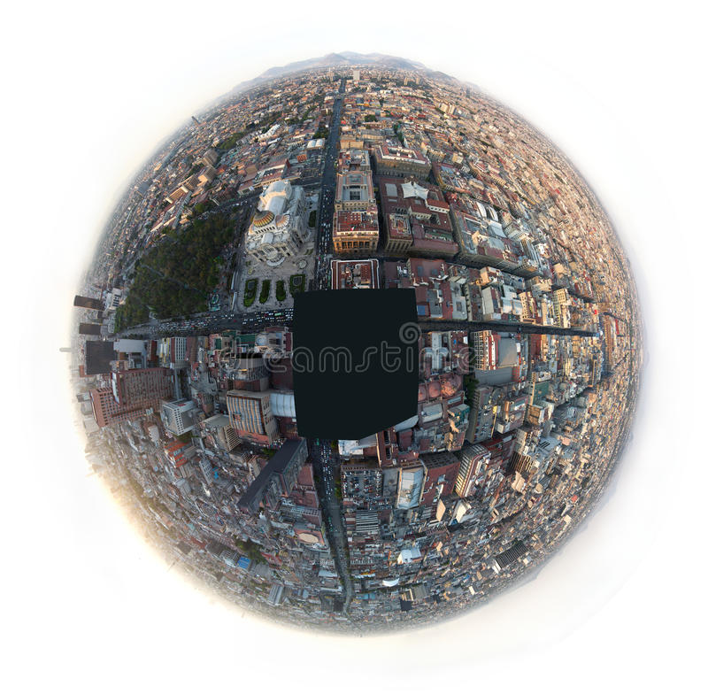 MEXICO CITY, MEXICO - 2011: Aerial fish eye view of downtown Mexico City stock image