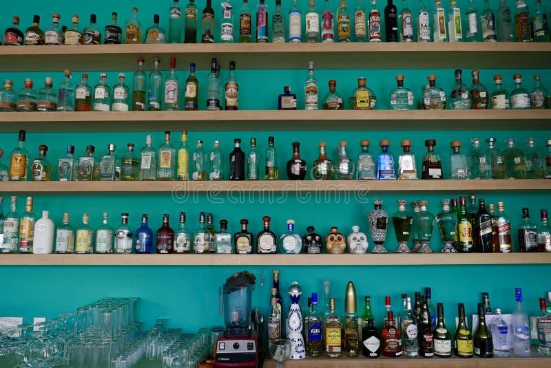 Mexico City, Mexico-January 7, 2017: Mexico City Tequila Museum. Tequilas in Mexico City Tequila Museum stock images