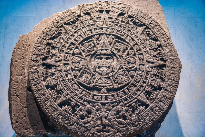 Mexico City, Mexico - November 1, 2018. Mayan calendar in National Museum of Antropology. Mexico City, Mexico - November 1, 2018. National Museum of Antropology royalty free stock photography