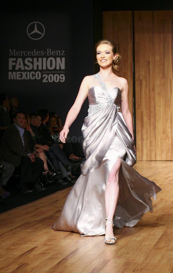MEXICO CITY A model walks the runway MBFM 2009 royalty free stock photo