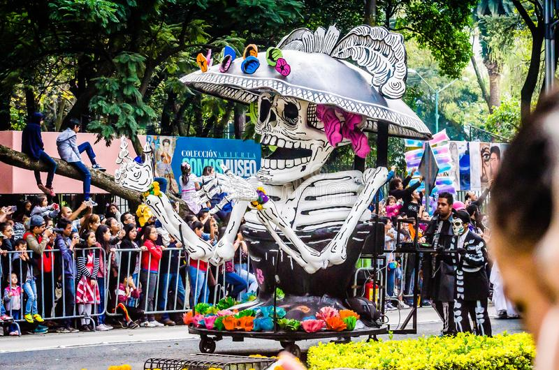 Mexico City, Mexico - October 27, 2018. Celebration of Day of Dead parade, Dia de los Muertos desfile - mask parade royalty free stock photography