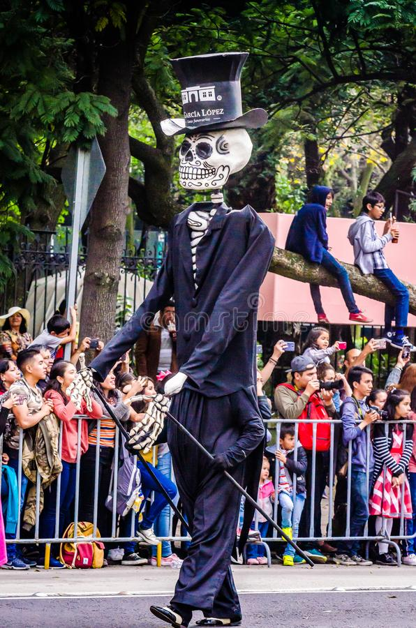 Mexico City, Mexico - October 27, 2018. Celebration of Day of Dead parade, Dia de los Muertos desfile - mask parade royalty free stock photo