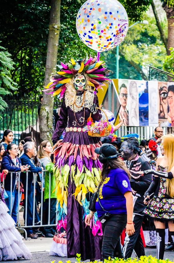 Mexico City, Mexico - October 27, 2018. Celebration of Day of Dead parade, Dia de los Muertos desfile - mask parade stock photography
