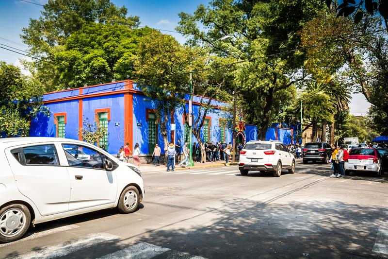 Mexico-City, Mexico - Oktober 26, 2018 Frida Kahlo Museum in Coyoacan-Kwart royalty-vrije stock fotografie
