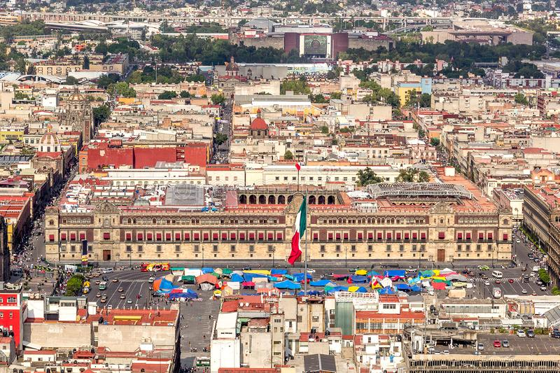 MEXICO CITY - CIRCA MAY 2013: Panoramic view national palace of government and zocalo square royalty free stock images