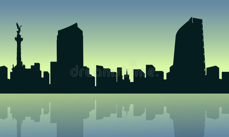 Mexico city with reflection scenery collection vector illustration