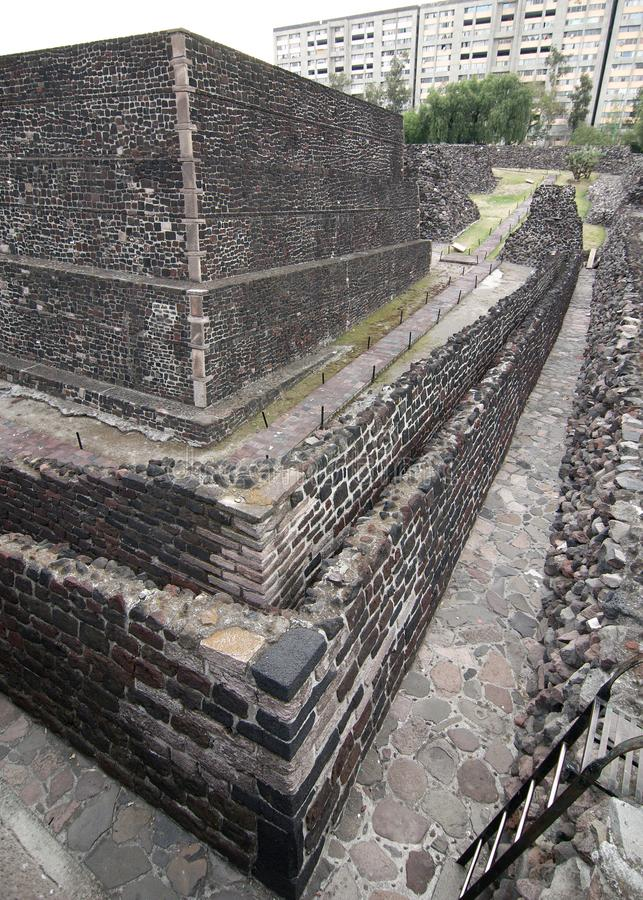 Remains of Aztec temples at the Plaza de las Tres Culturas royalty free stock image