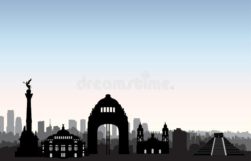 Mexico city skyline. Cityscape landmark silhouette Travel background royalty free illustration