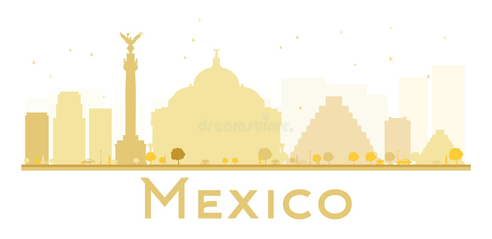 Mexico City skyline golden silhouette. Vector illustration. Simple flat concept for tourism presentation, banner, placard or web site. Business travel concept royalty free illustration