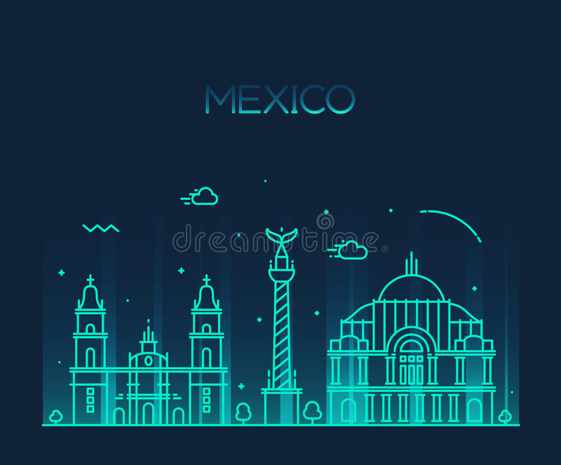 Mexico City Skyline Trendy Vector Line Art Style Stock