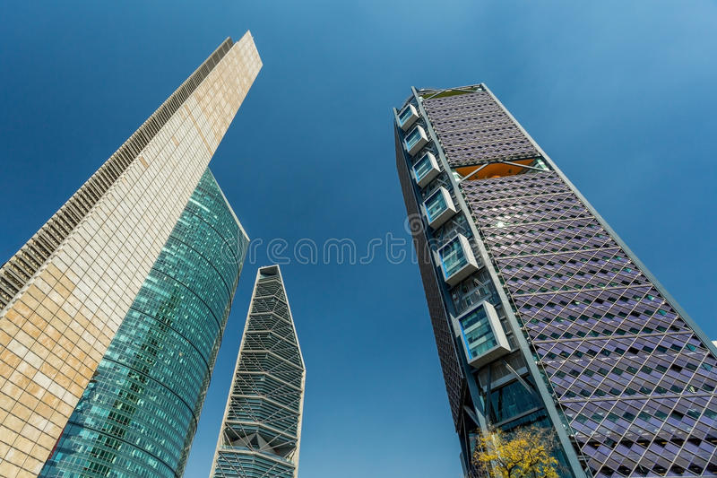 Mexico City skyscrapers. And clear blue sky stock images