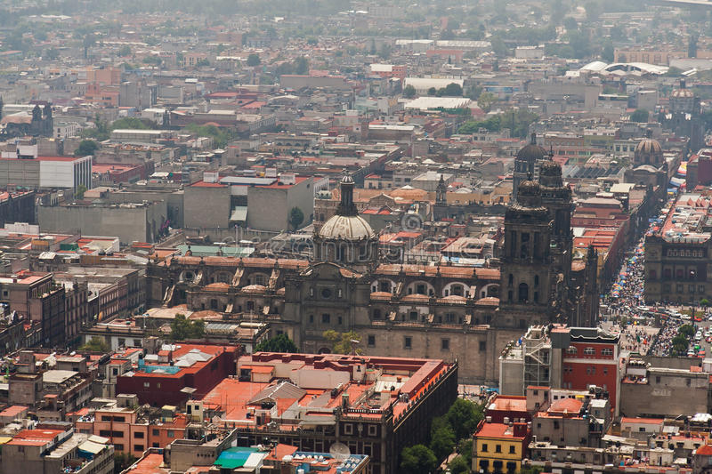 Mexico City Zocalo. A birds eye view of the Zocalo in downtown Mexico City. The Cathedral in the smog of the city royalty free stock photos
