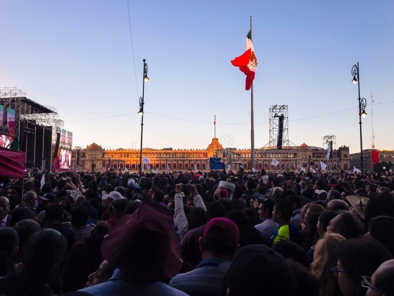 Mexico City - Zocalo first AMLO Speech as a President. Mexico City december 1st, 2018 First speech of Andres Manuel Lopez Obrador as a President, zocalo and flag stock photos