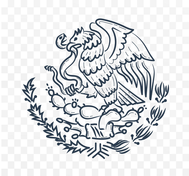 Mexico coat of arms stock illustration