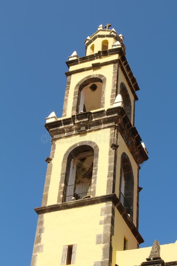 Bell tower of the colonial era in Mexico. In Mexico, the colonial era includes the discovery of the American continent in 1542, when Spain had absolute control stock photography