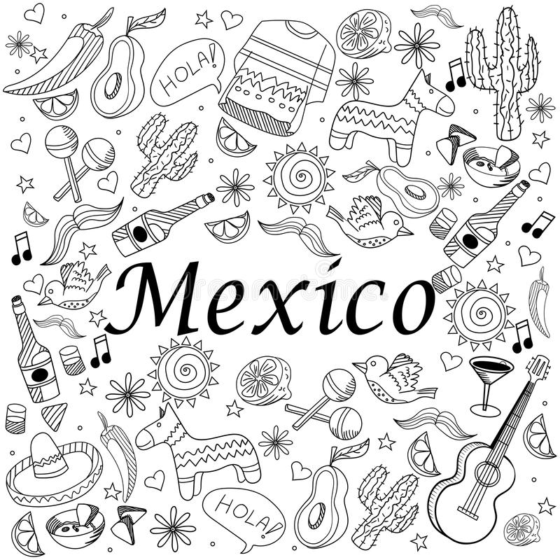 Download Mexico Coloring Book Vector Illustration Stock