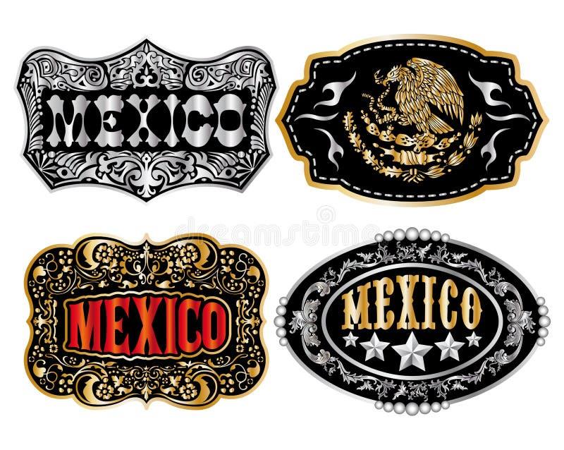 Mexico Cowboy belt buckle vector stock illustration