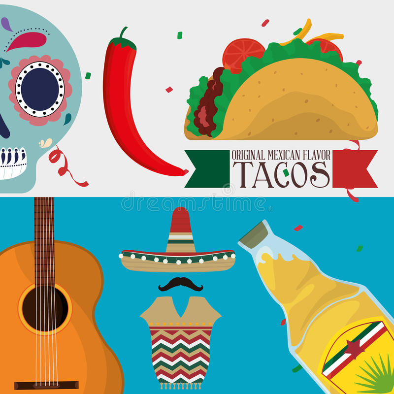 Mexico culture and landmark design royalty free illustration