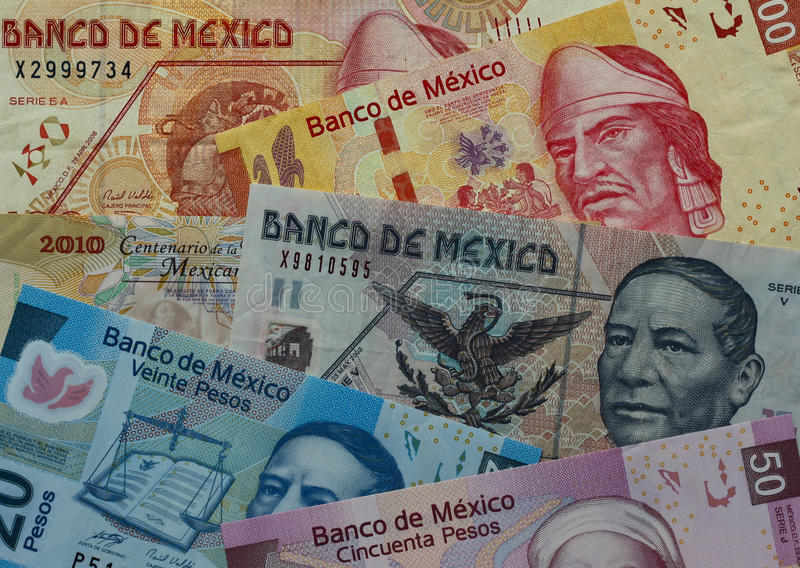 Mexico currency. Banknotes of 20, 50 and 100 Mexican pesos stock photography
