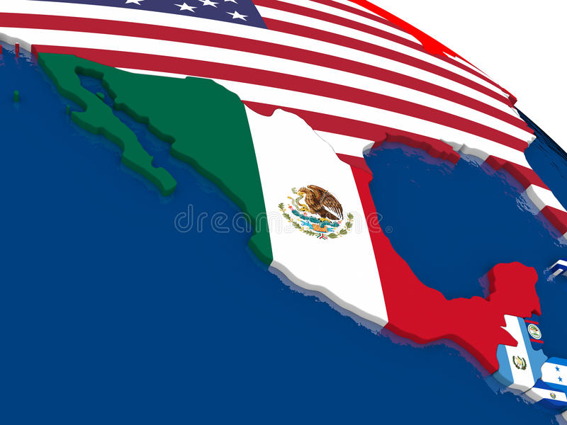 Mexico on 3D map with flags stock illustration