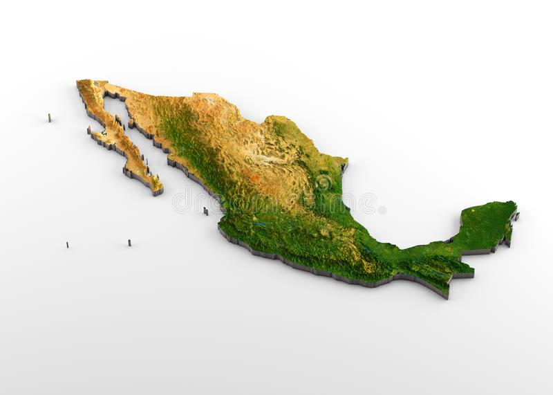 Mexico 3D Physical Map with Relief. 3D rendering of extruded high-resolution physical map with relief of Mexico, isolated on white background royalty free illustration
