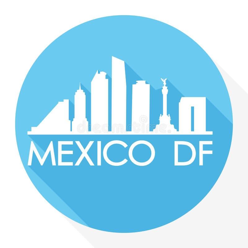 Mexico DF America Round Icon Vector Art Flat Shadow Design Skyline City Silhouette Template Logo vector illustration