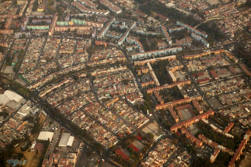 Mexico df city town aerial view from airplane stock image