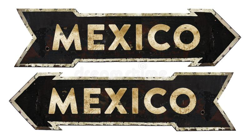 Mexico Directional Traffic Sign Vintage. Grunge Metal Rustic Old Antique Arrow Black White Highway Freeway Roadside Road royalty free stock photos