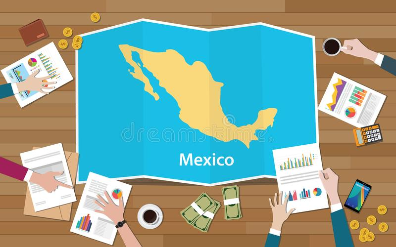 Mexico economy country growth nation team discuss with fold maps view from top vector illustration