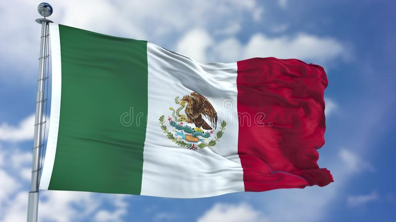 Mexico Flag in a Blue Sky. Use this clip loud and proud to express loyalty and love to our country. It is a seamless loop with luma channel stock photos