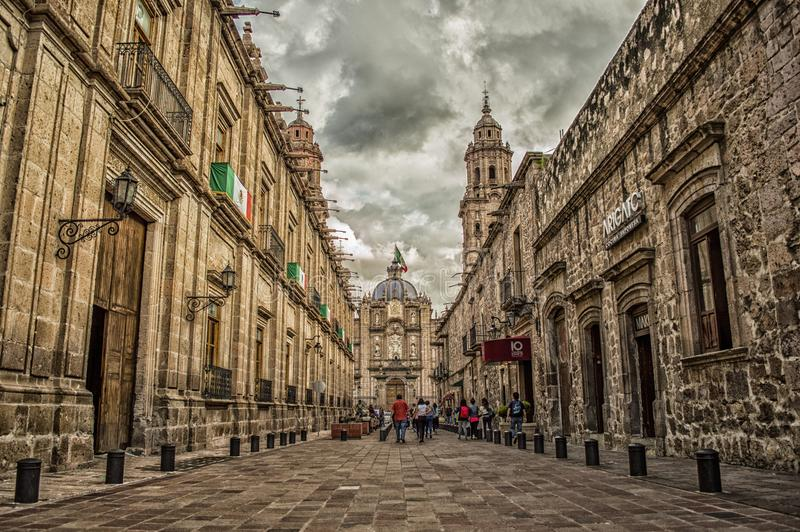 Mexico Flag on Brown 2-storey Building royalty free stock images