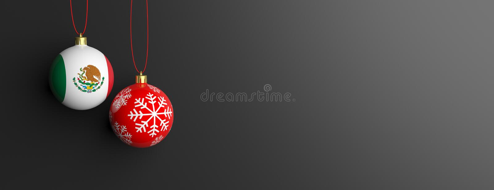 Mexico flag on a christmas ball, black background. 3d illustration royalty free illustration