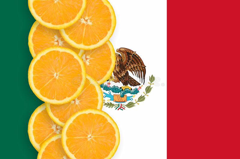 Mexico flag and citrus fruit slices vertical row stock image