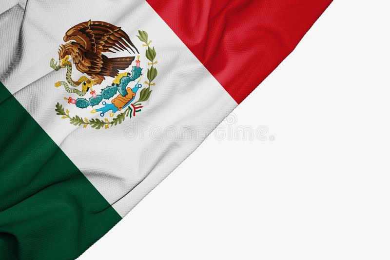 Mexico flag of fabric with copyspace for your text on white background. America banner best capital colorful competition country ensign free freedom glory vector illustration