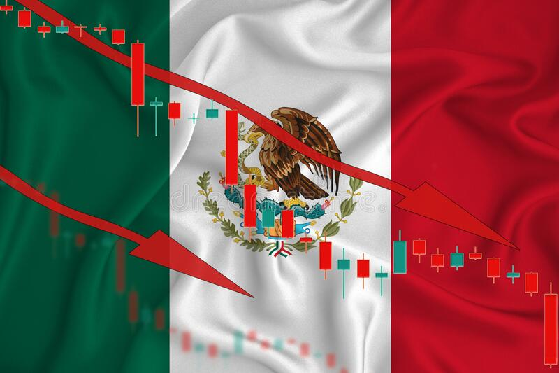 Mexico flag, the fall of the currency against the background of the flag and stock price fluctuations. Crisis concept with falling. Stock prices of companies stock image
