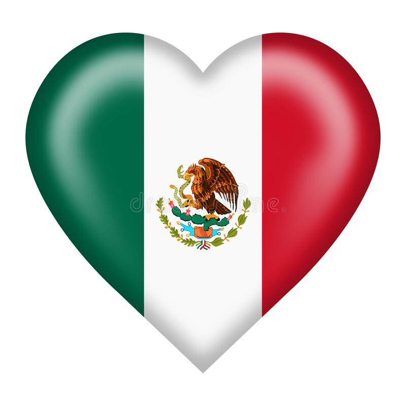 Free Mexico Flag Heart Button Isolated On White With Clipping Path 3d Illustration Royalty Free Stock Images - 191406179