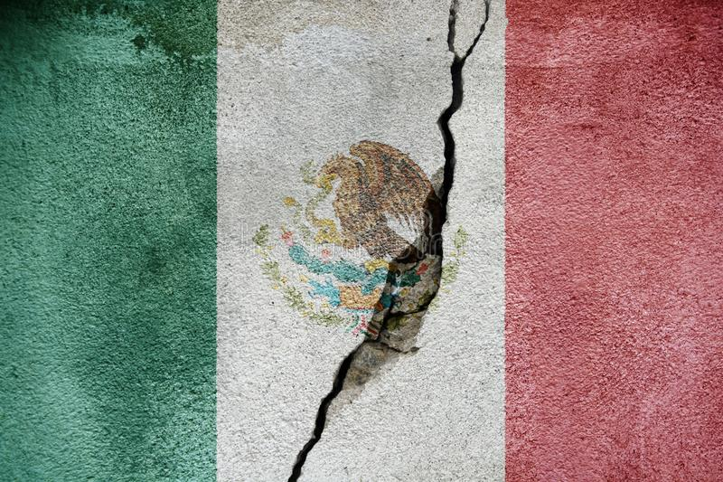 Mexico FLAG PAINTED ON CRACKED WALL nice royalty free stock photo