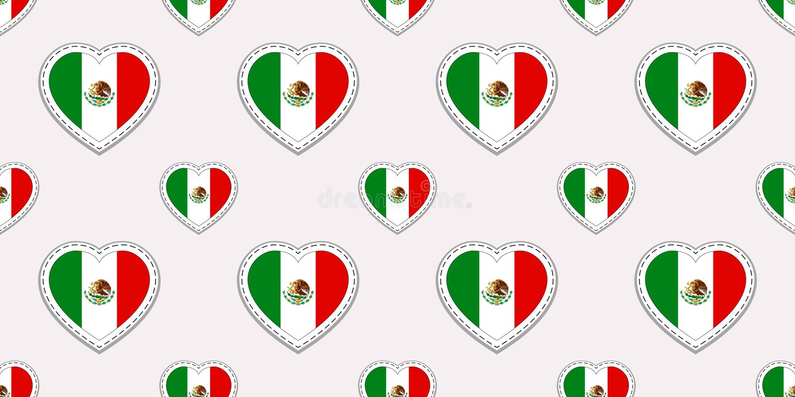 Mexico flag seamless pattern. Vector Mexican flags stickers. Love hearts symbols. Texture for language courses, sports vector illustration