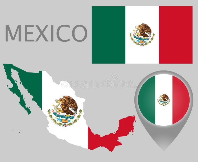 Mexico flagga, översikt och översiktspekare stock illustrationer