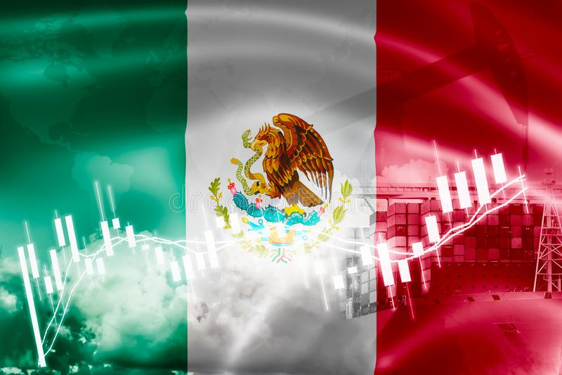 Mexico flagga, aktiemarknad, utbytesekonomi och handel, oljeproduktion, behållareskepp i export och importaffär och logistik stock illustrationer