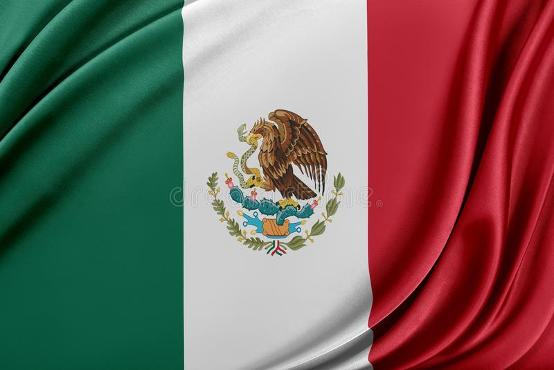 Mexico flagga med en glansig siden- textur vektor illustrationer