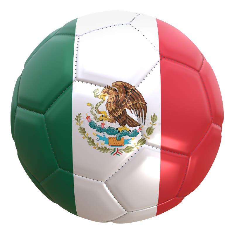 Mexico flagga på en fotbollboll royaltyfri illustrationer
