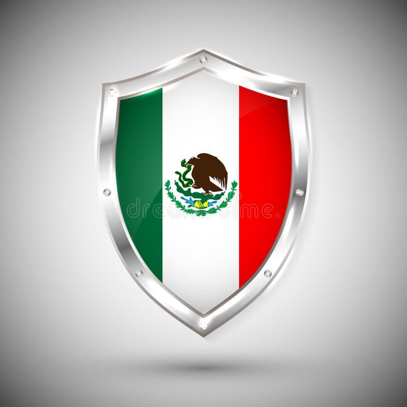 Mexico flagga på för sköldvektor för metall skinande illustration Samling av flaggor på skölden mot vit bakgrund Abstrakt begrepp stock illustrationer