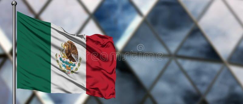 Mexico flagga som vinkar i vinden mot suddig modern byggnad ?gander?tt f?r home tangent f?r aff?rsid? som guld- ner skyen till Na arkivbild